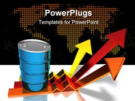 PowerPoint template displaying blue oil barrel standing atop of three yellow, red and orange arrows pointing upwards