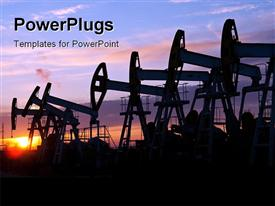PowerPoint template displaying oil pumps on the sunset sky background