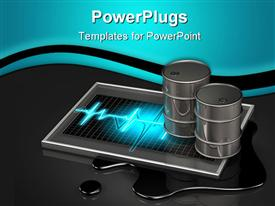 PowerPoint template displaying two large oil barrels sitting on top of a glowing pulse graphic in the background.
