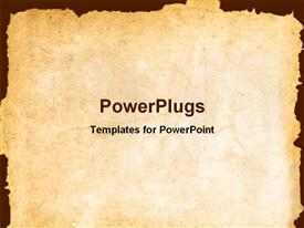 PowerPoint template displaying vintage background showing old paper with irregular margins