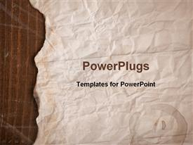 PowerPoint template displaying old brown paper with slightly burnt edges