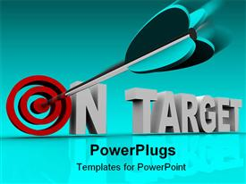 PowerPoint template displaying on target 3D words with red target instead of o letter and dart pointing bullseye