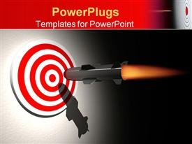 PowerPoint template displaying cruise missile ( rocket ) aiming target - rendered in 3D