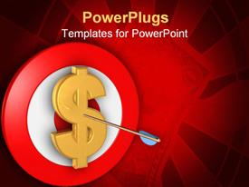 PowerPoint template displaying a dollar sign with a dart in it and a red and white dart board