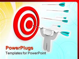 PowerPoint template displaying a number of darts with one of them hitting the target