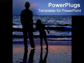 PowerPoint template displaying child and parent on the beach