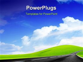 PowerPoint template displaying a wallpaper with clouds in the background