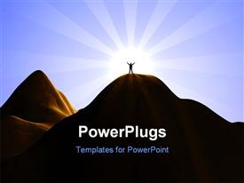 Silhouette of a man standing on top of a high mountain powerpoint template