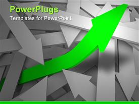 PowerPoint template displaying one green arrow rises from a sea of gray arrows symbolizing unique growth