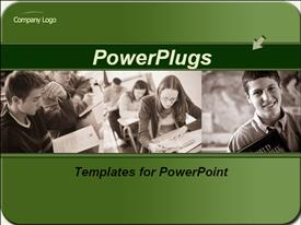 PowerPoint template displaying two tiles of students in school reading and smiling
