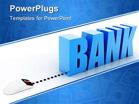 PowerPoint template displaying a depiction of the word bank with bluish background
