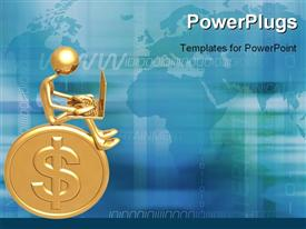 PowerPoint template displaying a person sitting on the dollar coin
