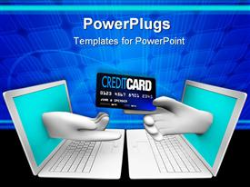 PowerPoint template displaying online shopping theme with two white laptops facing each other and hand coming from screen one hand handing credit card to other hand
