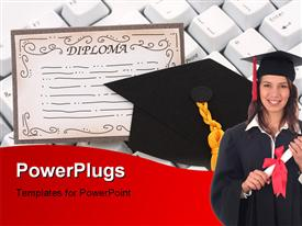 PowerPoint template displaying black graduation cap and diploma with a keyboard on an isolated background