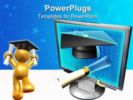 PowerPoint template displaying motherboard & diploma coming out of monitor 3D
