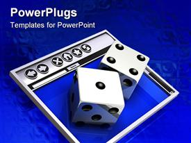 PowerPoint template displaying two large dice on a rectangular silver and blue surface