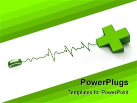 PowerPoint template displaying computer mouse with cable shaped as heartbeat line connected to a 3D green cross depicting the first aid cross on white and green background