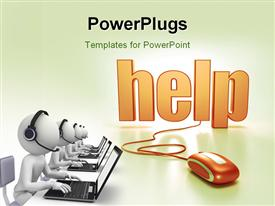PowerPoint template displaying a mouse connected to the word help with a lot of people working on laptops