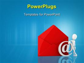 PowerPoint template displaying 3D man leans against email symbol and large red envelope