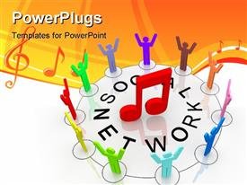 PowerPoint template displaying social network depiction with people forming circle around 3D music symbol