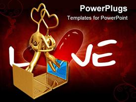 PowerPoint template displaying 3D graphics of two human characters with heart heads hugging