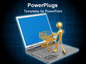 PowerPoint template displaying online shopping e-commerce with laptop, gold man, shopping cart