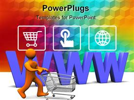 PowerPoint template displaying 3D orange figure driving a shopping cart with purple www letters in the back and three depictions of online shopping on rainbow squared pattern background