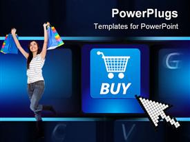PowerPoint template displaying shopping cart buy key on a black keyboard. E-commerce concept depiction