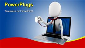 PowerPoint template displaying a white colored 3D human character with a stethoscope in a laptop