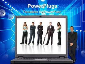 PowerPoint template displaying a big laptop with a business man standing beside it