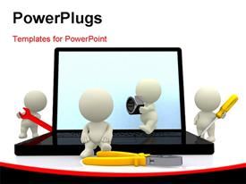 PowerPoint template displaying white figures holding various tools around open laptop