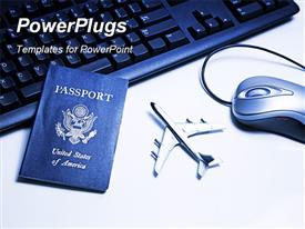 PowerPoint template displaying international travel passport on computer keyboard with mouse and airplane toy