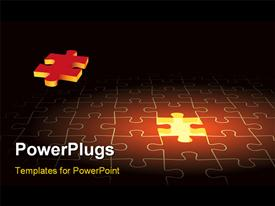 PowerPoint template displaying red mMissing piece of jigsaw puzzle flying into lighted position