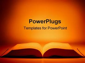 PowerPoint template displaying large open book on table with orange light background