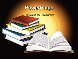 PowerPoint template displaying opened book in front of pile of many colored books with yellow glow in background