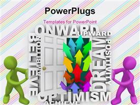 PowerPoint template displaying two colorful people with a number of arrows