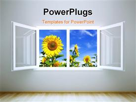 PowerPoint template displaying beautiful room with open window leading to sunflower field and cloudy sky