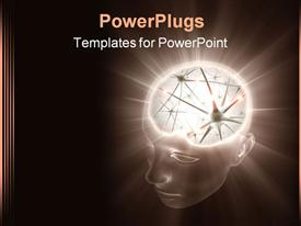 PowerPoint template displaying the illumination of a human brain with brown background