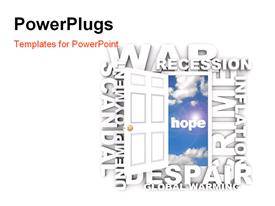 PowerPoint template displaying door opens to the word Hope amidst many words of bad news