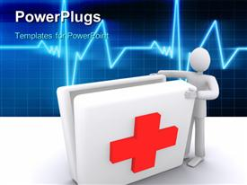 PowerPoint template displaying man opening first aid box medical symbol ECG wave background