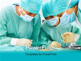 PowerPoint template displaying medical team performing an operation in a hospital