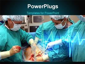 PowerPoint template displaying some surgeons in a theater performing an operation on a patient