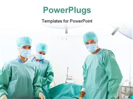 PowerPoint template displaying medical team performing an operation in a hospital in the background.