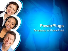 PowerPoint template displaying a group of people with headsets and their beautiful smiles