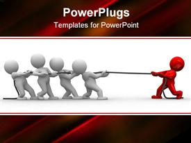Many 3D humans pull a rope to opposite directions powerpoint template