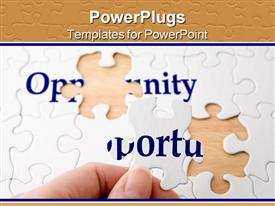 Hand holding a piece to complete puzzle with the word opportunity presentation background