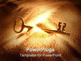 PowerPoint template displaying key lying half buried in the sand