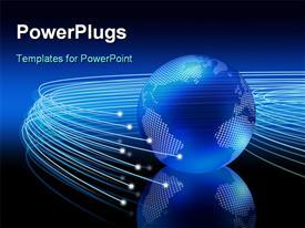 Optical fibers lights speeding on dark background around the digital earth globe powerpoint theme
