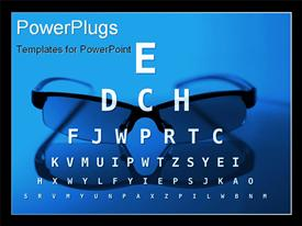 PowerPoint template displaying glasses and eye test chart - blue version
