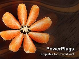 PowerPoint template displaying fresh juicy ripe orange in the background.